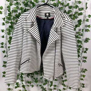 Asymmetrical Navy Striped Blazer